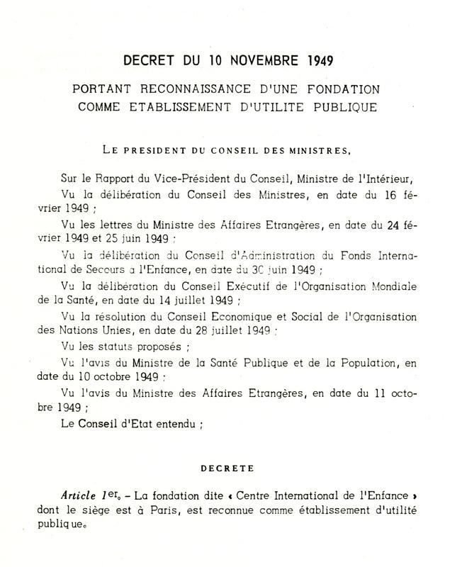 Décret du 10 novembre 1949 reconnaissant le CIE comme établissement d'utilité publique