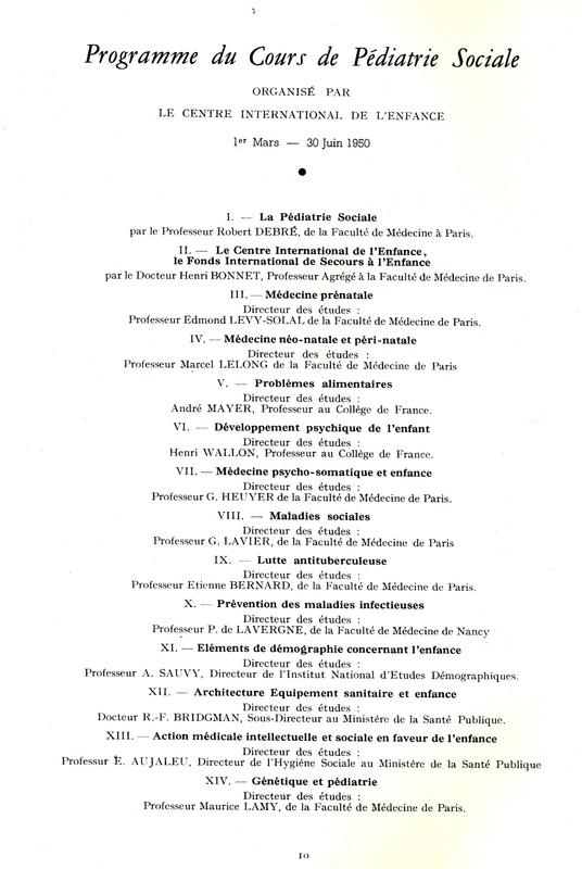 Programme du premier cours de pédiatrie sociale du CIE, 1950