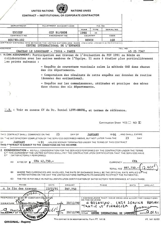 Ordre de mission de l'UNICEF en faveur de Daniel Lévy-Bruhl du CIE pour une enquête de couverture maximale au Bénin, 1990