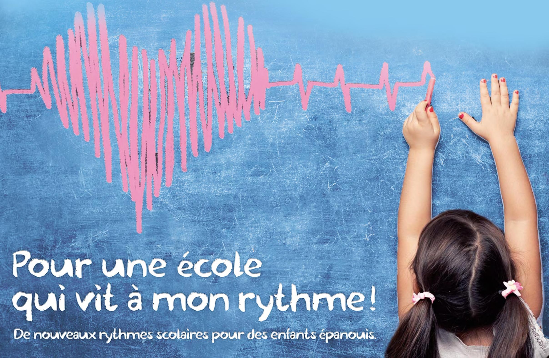 Affiche de la Fédération des conseils de parents d'élèves en faveur d'une réforme des rythmes scolaires, 2013.