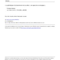 La généalogie et la transmission de la culture: une approche sociologique - 045761ar.pdf